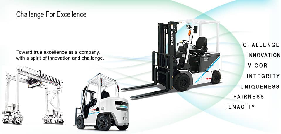 UniCarriers Forklifts manufacturers of electric, cushion, pneumatic forklifts, reach trucks, order selectors, and pallet jacks