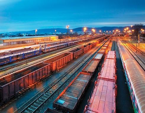 rail yard with cargo trains