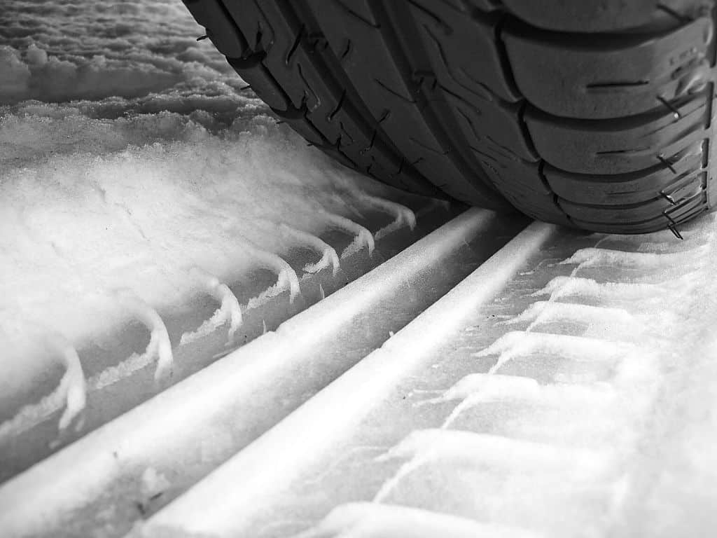 Forklift tires must have a good tread depth for safety.
